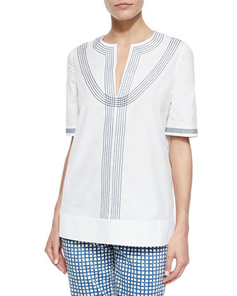 Embroidered Poplin Tunic, White/Blue