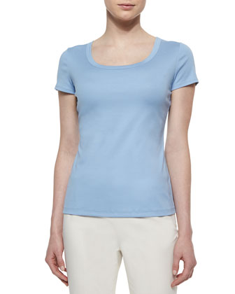 Cotton-Stretch Basic Tee, Ice Water