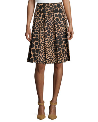 Pleated Animal-Print Skirt, Suntan/Black