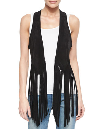Nightingale Fringe Racerback Vest, Black