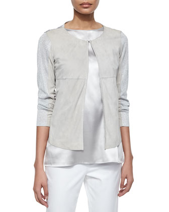 Malak Suede & Metallic Knit Jacket