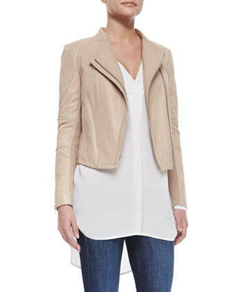 Leather/Knit Fitted Jacket, Long-Sleeve V-Neck Sheer Top & Dylan Skinny ...