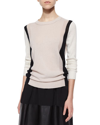 Two-Tone Knit Sweater & Jersey/Leather Pleated Skirt