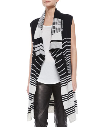 Draped Mixed-Stripe Knit Vest