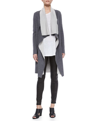 Draped Two-Tone Cardigan, Half-Sleeve Slub Tee & Side-Zip Leather Leggings