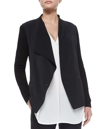 Knit-Sleeve Draped Crepe Jacket