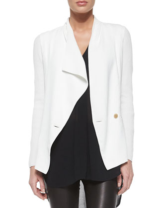 Ribbed Sleeve Drop-Front Jacket, Off-White