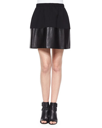 Cap-Sleeve Tie-Neck Blouse & Jersey/Leather Pleated Skirt
