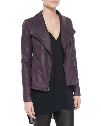 Scuba-Style Leather Jacket, Long-Sleeve V-Neck Sheer Top & Side-Zip Leather ...
