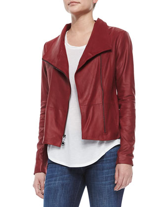 Scuba-Style Leather Jacket, Twisted Cap-Sleeve Slub Tee & Dylan Skinny ...