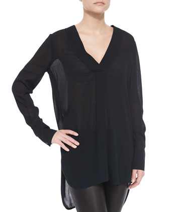 Knit-Sleeve Draped Crepe Jacket, Long-Sleeve V-Neck Sheer Top & Two-Tone ...