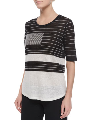 Mixed-Stripe Linen Slub Tee