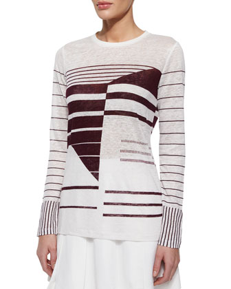 Abstract-Print Long-Sleeve Tee & Pleated A-Line Skirt