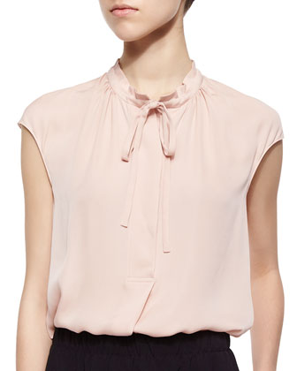 Silk Cap-Sleeve Tie-Neck Blouse