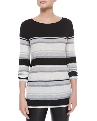 Long-Sleeve Mixed-Stripe Slub Tee