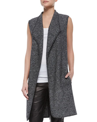 Asymmetric Mixed-Media Vest, Ribbed Favorite Tank & Knit/Leather Combo ...