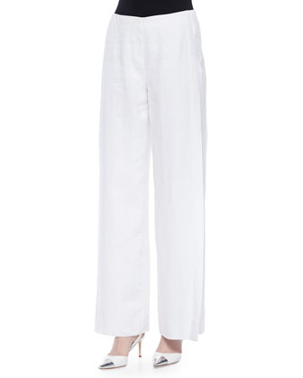Lined Wide-Leg Linen Pants, White