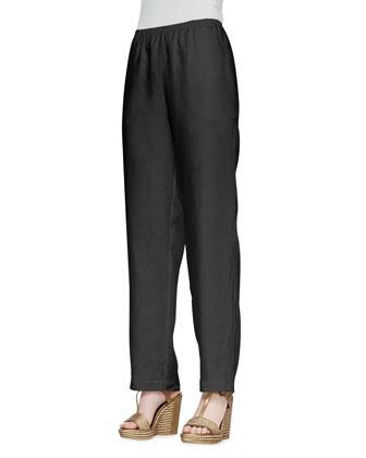 Straight-Leg Silk Pants