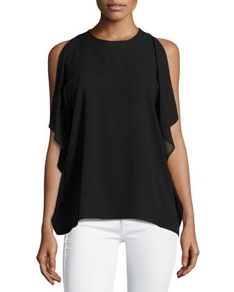 Flutter-Sleeve Shell Top, Black