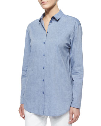 Sabira Cotton-Stretch Side-Pocket Shirt