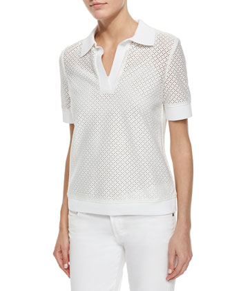 Short-Sleeve Eyelet Polo Shirt, White