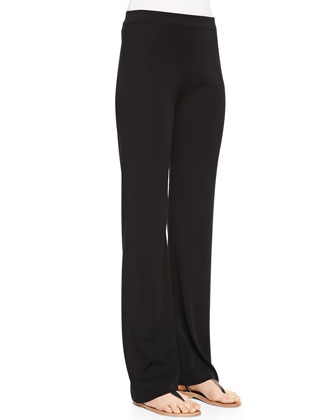 Casey Boot-Cut Knit Pants, Black