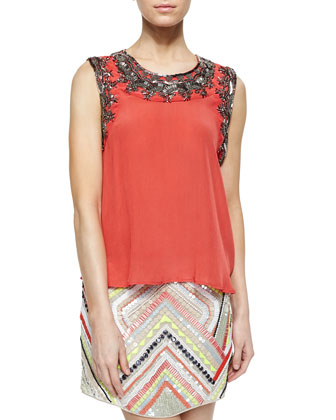 Estee Bead-Embellished Silk Top, Salsa