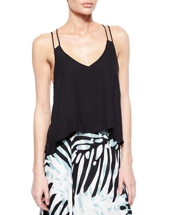 Knox Silk Strappy Tank, Black