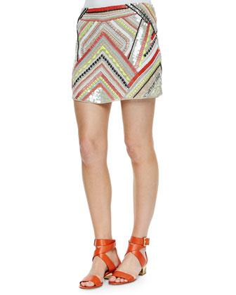 Estee Bead-Embellished Silk Top & Corsica Beaded Skirt