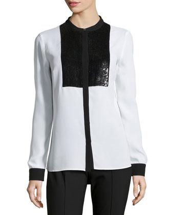 Paillette Tuxedo Shirt, White