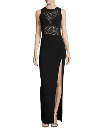 Sleeveless Lace Inset Gown, Black