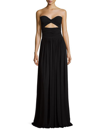 Strapless Ruched Gown, Black