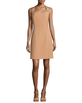 Buckled-Shoulder Shift Dress, Suntan
