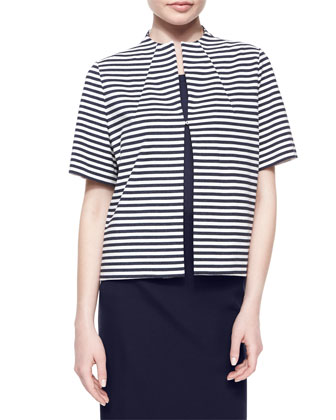 Funnel-Neck Striped Jacket