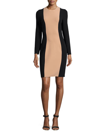 Long-Sleeve Colorblock Dress, Suntan