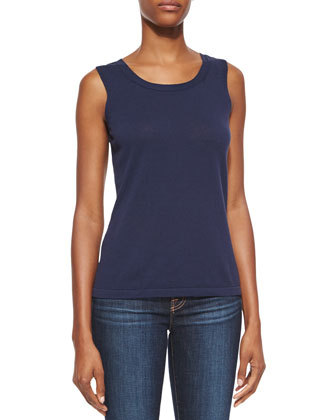 Scoop-Neck Cotton Knit Shell