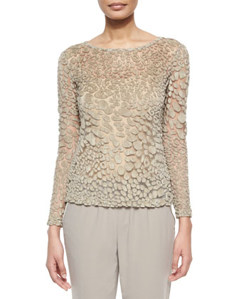 Leopard-Mesh Long-Sleeve Sweater