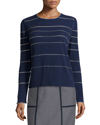 Long-Sleeve Ribbed Sweater & Madeline Narrow A-Line Skirt