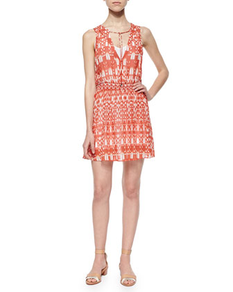 Roots Tie-Neck Printed Dress, Blood Orange