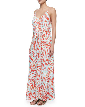 Extinct Printed Drawstring Maxi Dress, Blood Orange