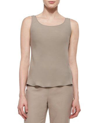 Sleeveless Silk Bias Tank, Osprey