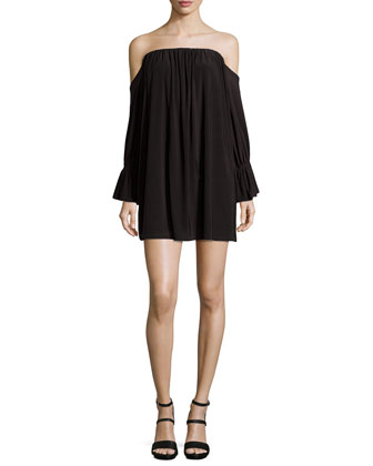 Off-the-Shoulder Jersey Dress, Black