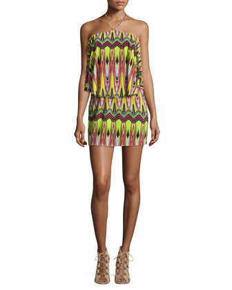 Zigzag-Print Jersey Halter Dress, Neon Yellow