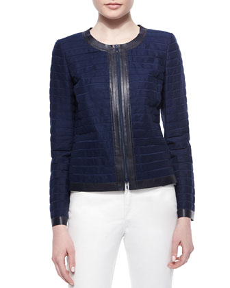 Catrice Zip-Front Striated Linen Jacket