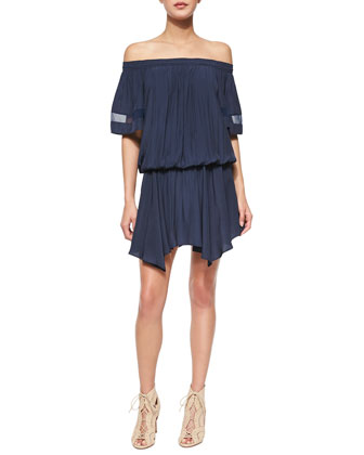 Jessa Plisse Off-the-Shoulder Dress, True Navy