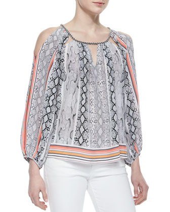 Luna Snake-Print Striped-Border Top