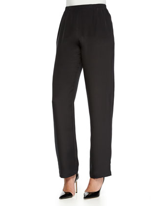 Silk Crepe Straight-Leg Pants, Petite