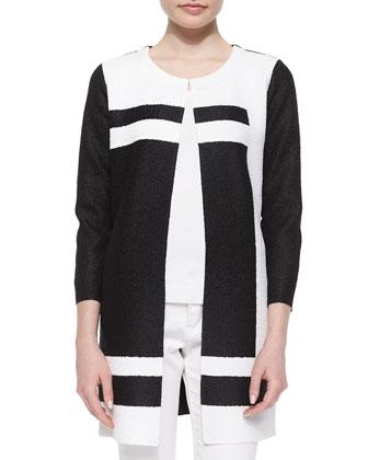Graphic Long Crinkle Jacket, Black/White