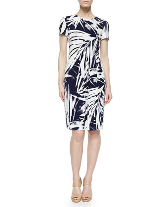 Asymmetric-Pleated Brushstroke Dress, Delft/White