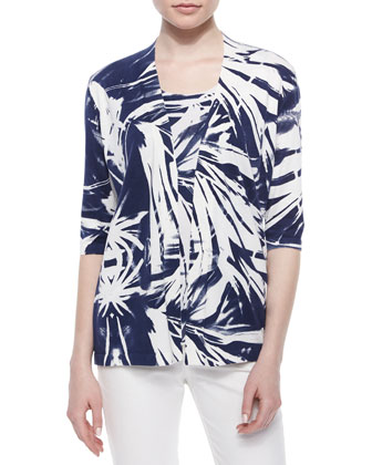 3/4-Sleeve Printed Georgette-Back Cardigan, Sleeveless Tropical-Print Shell ...